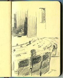 В конференц-зале Инженерного корпуса Третьяковской галереи. Бумага, карандаш. 14 х 9