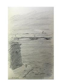 Санкт-Петербург. Троицкий мост. 2012. Бумага, карандаш. 14 х 9