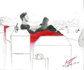 Красные подушки. 2016. Бумага, карандаш, акварель. 12 х 14. Фестиваль. Елагин остров.