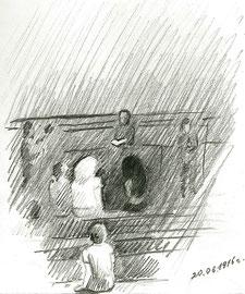 Вечер. Парк Горького. 2016. Бумага, карандаш. 15 х 12