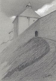 Старая Ладога. 2016. Тонированная бумага, карандаш, белила. 14 х 10