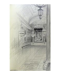 Эрмитаж. Галерея Отечественной войны 1812 г. Бумага, карандаш. 14 х 9