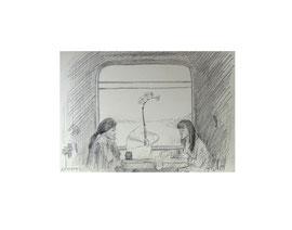Поезд Санкт-Петербург-Москва. Бумага, карандаш. 9 х 13