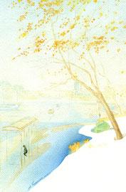 Золотые листья. 2014. Бумага, акварель. 27 х 18
