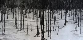 Sottobosco, 2013. Acquaforte 40x80cm