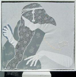 2014, 81 x 87 cm, Leinen, Gardinenstoff, in lackierten Holzrahmen gespannt