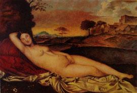 La Venere dormiente, omaggio a Giorgione (olio su tela) 50x60-2009 COLLEZIONE PRIVATA