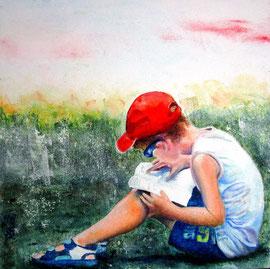 Il cappellino rosso (olio e acrilico su tela) 30x30- 2015