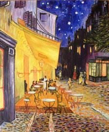 Omaggio a Van Gogh, Café Terrace sur la Place du Forum Arles, Nuit Septembre 1888 (olio su tela) 50x70-2010