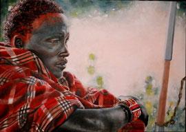 Eroico guerriero maasai ( ..ora rinuncio alla lotta e alla guerra!) (olio su tela) 50 x 70 - 2011  COLLEZIONE PRIVATA