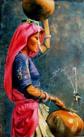Rajasthan, portatrice d'acqua (olio su tela) 50x80-2010 COLLEZIONE PRIVATA (riproduzione della foto concessa gentilmente da Luciano e Verena Lepre - veraluc.com)