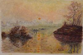 Omaggio a Monet, Tramonto di Lavacourt - 2005 COLLEZIONE PRIVATA
