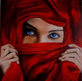 Rosso persiano (olio) 50x50-2012 Proteggere o nascondere. Hijab, identità celata o pregiudizio?  Opera dedicata a tutte le storie di violenza ed isolamento, indipendentemente dalle religioni, dalle appartenenze sociali e culturali COLLEZIONE PRIVATA
