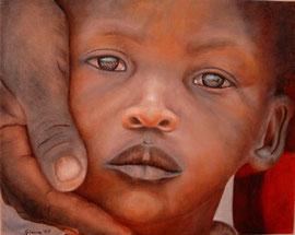 Bimbo Maasai, il diritto a un'infanzia sicura di emozioni e scoperte, all'istruzione, alle cure, alle medicine (olio su tela) 40x50-2010 COLLEZIONE PRIVATA