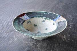 色絵緑彩兜向鉢