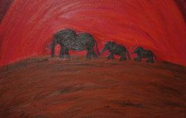""""""" Elefanten im Sonnenuntergang """" Öl auf Künstlerpappe 50 cm / 40 cm...80,-€"""