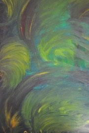 """""""Grün"""" und """" Mohn"""" sind ein Bild.  Vorderseite """" Grün"""",    Rückseite """"Mohn""""    beidseitig bemalt auf Holz  38 cm  / 52 cm ...     90,-€"""