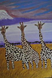 """"""" Giraffengang """"   Keilrahmen    40 cm / 50  cm ...  150 ,- €"""