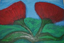 """"""" Zwei Mohnblüten""""  Künstler Ölpapier   32 cm / 24 cm ...  80,- €"""