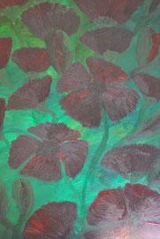 """"""" Mohn"""" und """" Grün"""" sind ein Bild.  Rückseite """"Mohn"""",    Vorderseite """"Grün""""   beidseitig bemalt auf Holz 38 cm / 52 cm  ... 90,-€"""