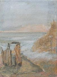 Refugium 1 - Robinson, 2002 _____ 40x30 Acryl, Sand, Rinde auf Baumwolle