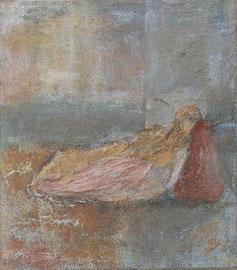 Dido und Aeneas, 2005 _____ 35x40 Acryl, Papier, Sand auf Baumwolle