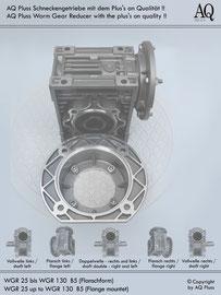 Schneckengetriebe B Flanschbauform - ohne E Motor - Sologetriebe