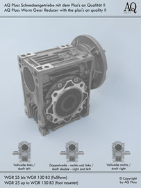 Schneckengetriebe B3 Fußbauform - ohne E Motor - Sologetriebe