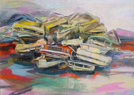 Ende und Anfang / Acryl auf Leinwand, 90 x 110 cm, 2017