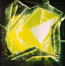Glass pyramids, oil on canvas, 50cm x 50cm, 2013, contemporary abstract art