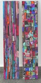 Antje Eule - Farbtafeln (2015), Collage, Öl auf Pergamentpapier, 20 x 130