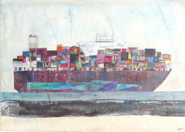 Antje Eule - Containerschiff (2017), Collage, Papier auf Leinwand, 70 x 50
