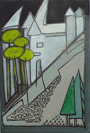 Antje Eule - Stadtmauer (2016), Öl auf Leinwand, 24 x 30