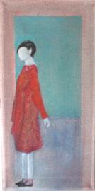 Antje Eule - Frau mit rotem Kleid (2018), Öl auf Leinwand, 15 x 30