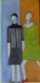 Antje Eule - Frauen (2018), Öl auf Leinwand, 15 x 30