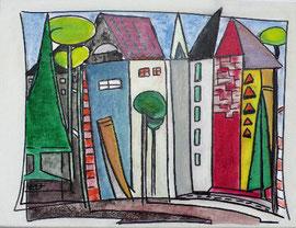 Antje Eule - Stadtbild (2016), Öl auf Leinwand, 30 x 30