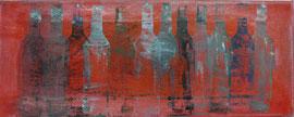 Antje Eule - Flaschenreihe (2013), Öl auf Leinwand, 50 x 20