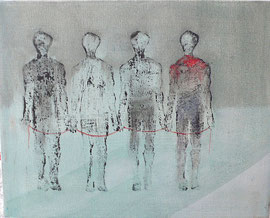 Antje Eule - 4 Frauen (2016), Druck, Öl auf Leinwand, 30 x 20