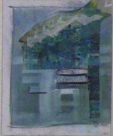 Antje Eule - Fisch blau II (2015), Öl auf Leinwand, 40 x 50