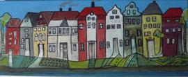 Antje Eule - Hafenzeile (2018), Öl auf Leinwand, 50 x 20