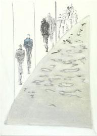Antje Eule - Bergauf (2016), Öl auf Leinwand, 50 x 70