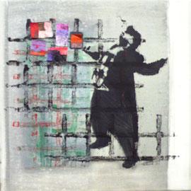 Antje Eule - Sänger (2016), Öl auf Leinwand, 30 x 30