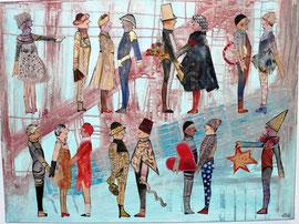 Antje Eule - Gesellschaft (2014), Collage, Öl auf Pergamentpapier, 100 x 70