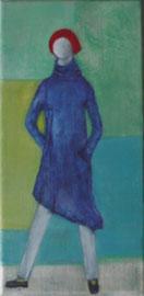 Antje Eule - Frau mit blauemKleid (2018), Öl auf Leinwand, 15 x 30