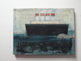 Antje Eule - Passagierschiff (2017), Collage, Papier auf Leinwand, 30 x 30