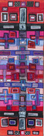 Antje Eule - Farbtafel (2017), Collage, Öl auf Pergamentpapier,  30 x 100