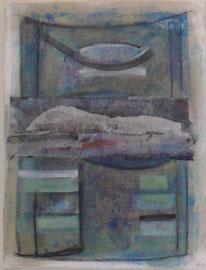 Antje Eule - Fisch blau I (2015), Öl auf Leinwand, 40 x 50