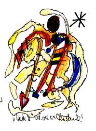 """Heide II"""", Werkverzeichnis 518, vom 08.04.95, Filzstifte, Aquarellfarben und Textilfilzstifte auf Papier, Größe b 10,6 cm * h 16 cm"""