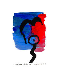 """""""Vogel und Seele im All"""" / Serie v. 13 Arbeiten / hier 5/13 WVZ 3.754 / datiert 2005 / Tusche, Tinte und Aquarell auf Papier / b 30,0 cm * h 42,0 cm"""