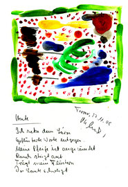 """""""Heute"""" / Torrox, den 27.11.2008 / """"Sprechbild"""" mit Text als Original Grafik mit Aquarellfarben, Bleistift und Text auf Papier / B 21,0 cm * H 29,7 cm / Werkverzeichnis 3.818"""